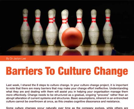 Several Barriers To Rapid Cultural Change By Jaclyn Lee